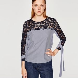 Zara Striped lace top blouse size XS 0